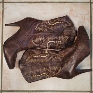 Brown Leather Western Cowgirl Boots Size 7